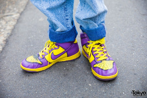 Nike Yellow and Purple Colorway Shoes