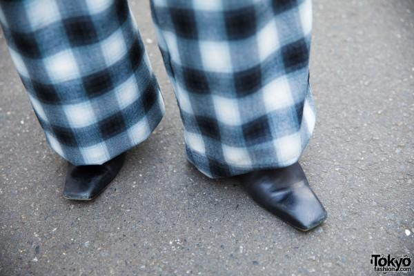 Faith Tokyo Gingham Print Pants & Faith Tokyo Square Toe Shoes