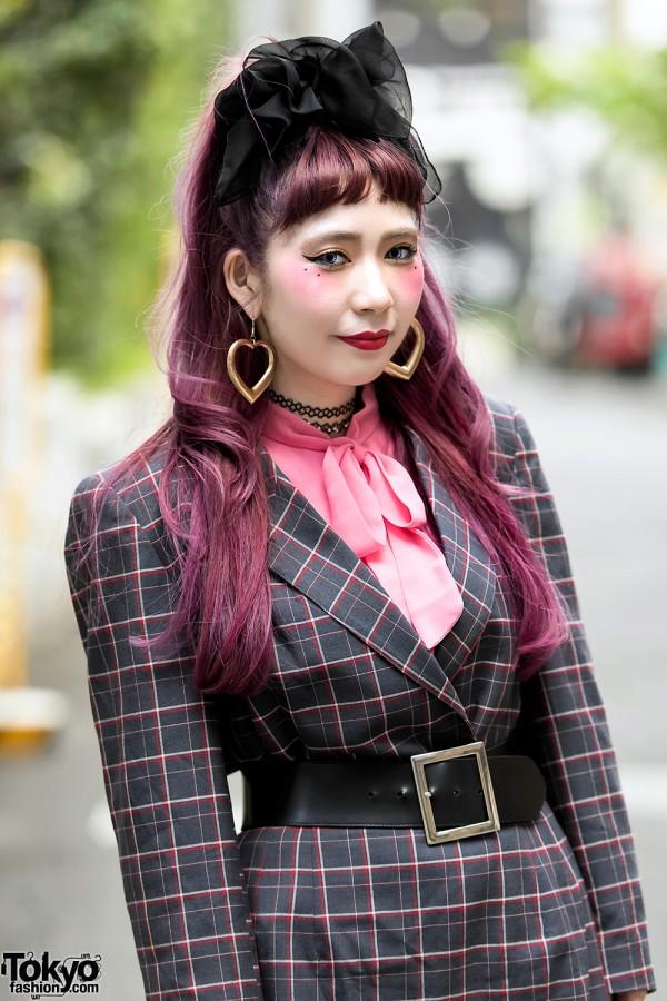 Pink Hair & Vintage Belted Dress in Harajuku