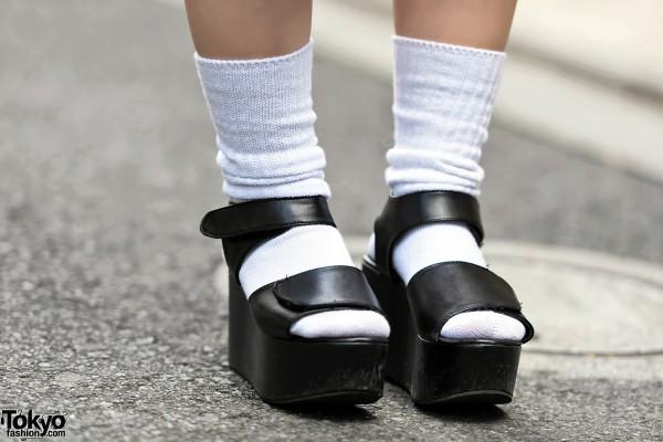 Platform Sandals & Tube Socks