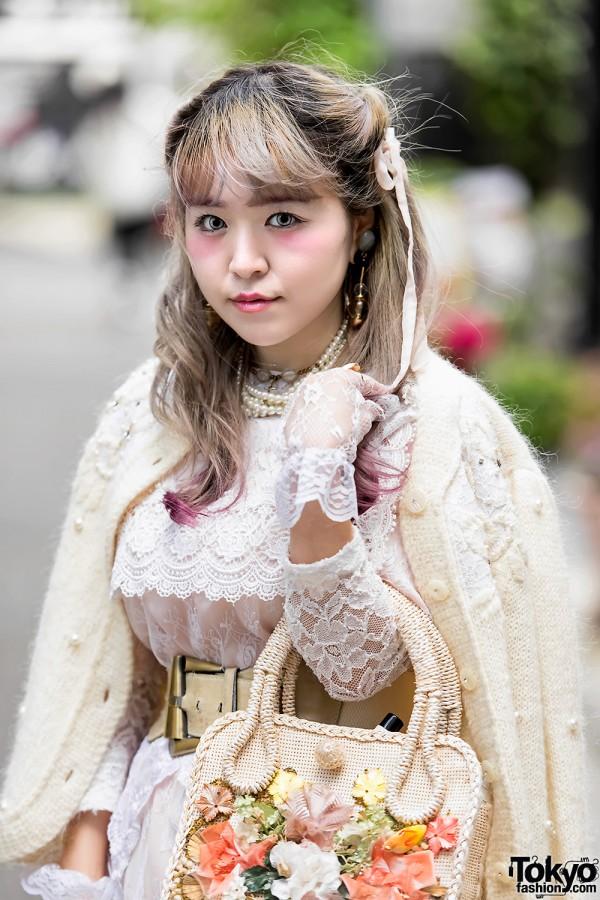 Vintage Sweater & Zool Lace Dress in Harajuku
