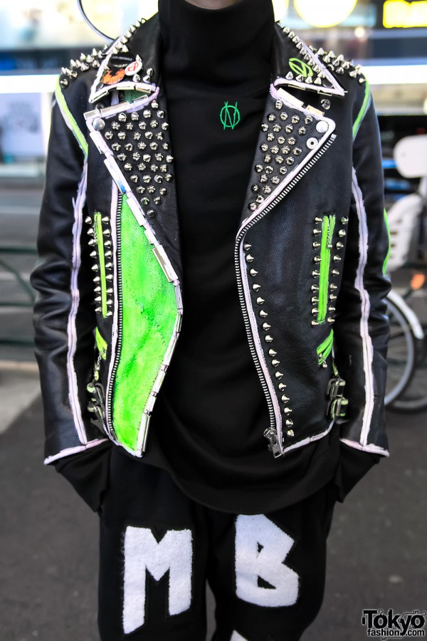 Studded Punk Leather Jacket With Neon