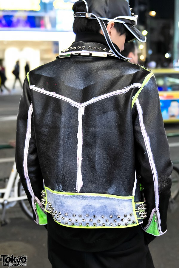 Neon Accent Punk Leather Jacket