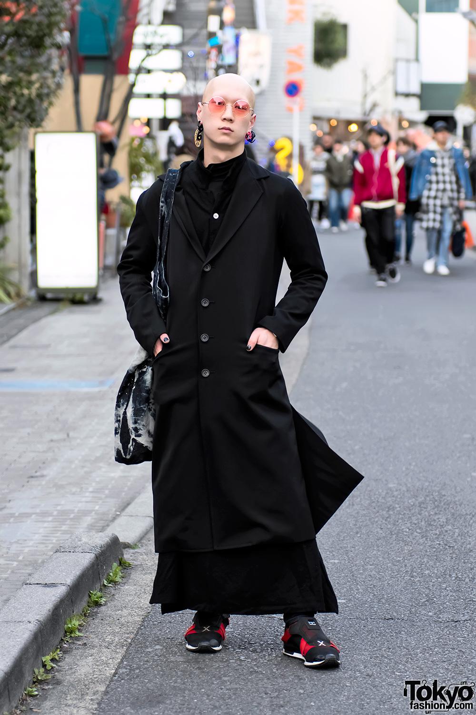 Harajuku guy in dark street style w yohji yamamoto Japanese clothing designers