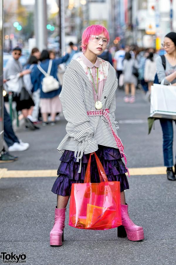 Pink Haired Harajuku Guy in Balmung Jacket, An/Eddy Belt, Tamagotchi, Skirt & Fishnets
