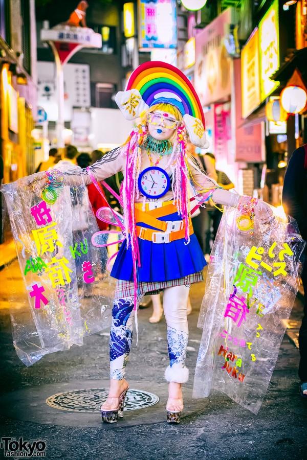 Harajuku Girl Wearing Colorful Handmade & Remake Fashion On The Street in Shibuya