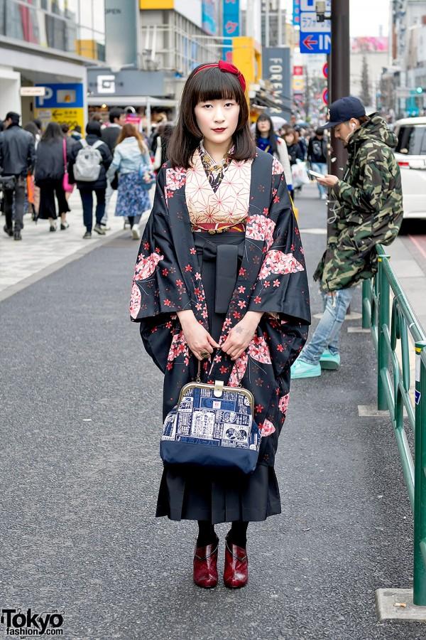 Japanese Kimono & Steampunk Accessories on the Street in Harajuku