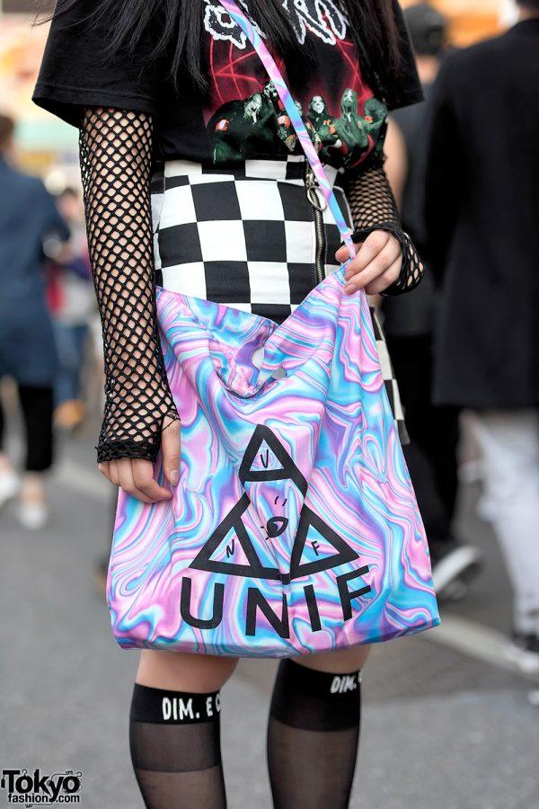 UNIF Bag & Checkered Miniskirt