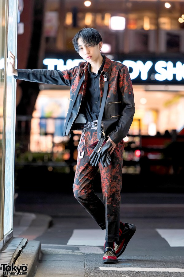 Paul Smith Rose Print Suit, Saint Laurent & 99%IS- On The Street in Harajuku