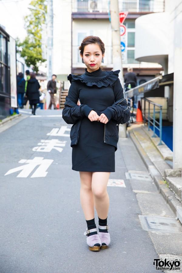 Harajuku Girl in Black Ruffle Dress & Fuzzy Purple Sandals