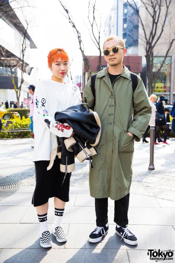 Sporty Harajuku Duo in Stussy & Stussy Women, Big Love Records, Unused, Neon Sign, Converse & Vans