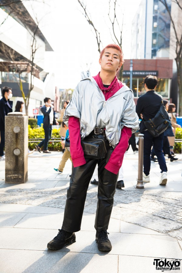 Pink-Haired Harajuku Guy in Silver Jacket w/ Jean Paul Gaultier, Marc Jacobs & Nike Shox