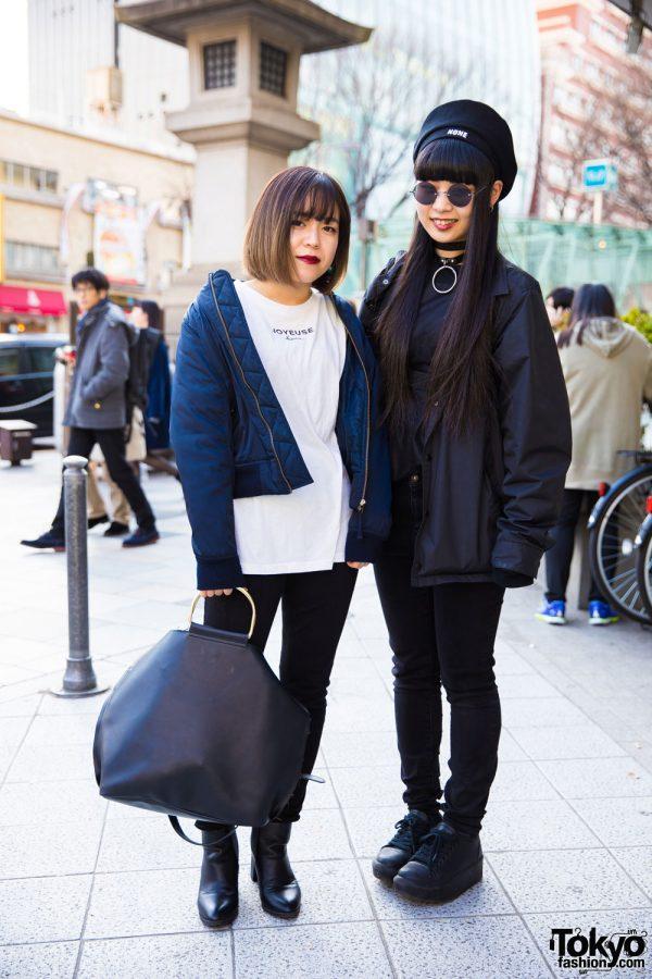 Harajuku Girls in Black Street Fashion w/ Stussy, Uniqlo, Basic Cotton & Jeanasis