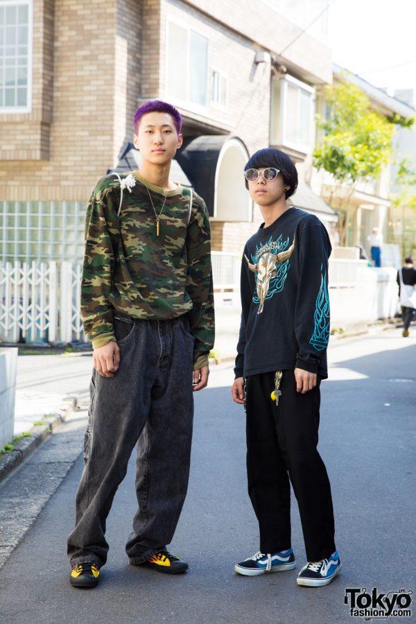 Harajuku Duo in Streetwear w/ Converse, Vans, Harley Davidson & Ambush