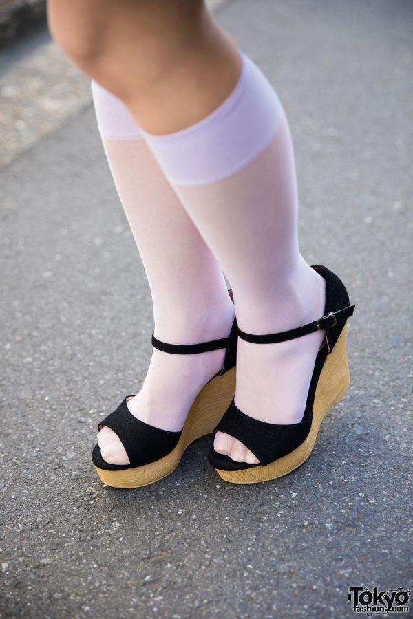 harajuku girl in 50s vintage cat print dress  u0026 wedge sandals