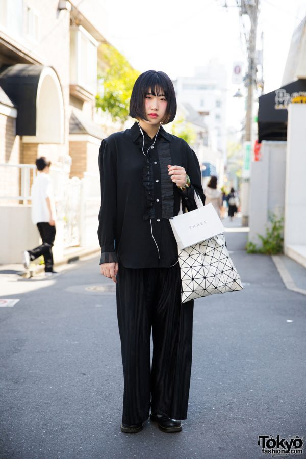 Harajuku Girl in Black Vintage Fashion w/ Bao Bao Issey Miyake & Martin