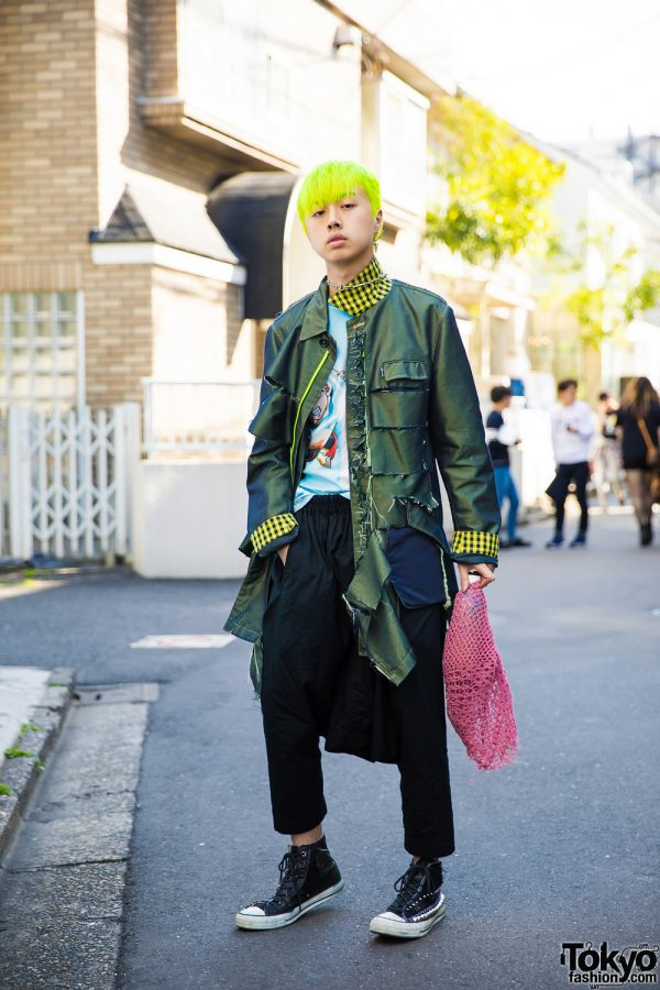 Neon-Haired Harajuku Guy in Edgy Street Style w/ PPFM, Comme des Garcons & Kinji
