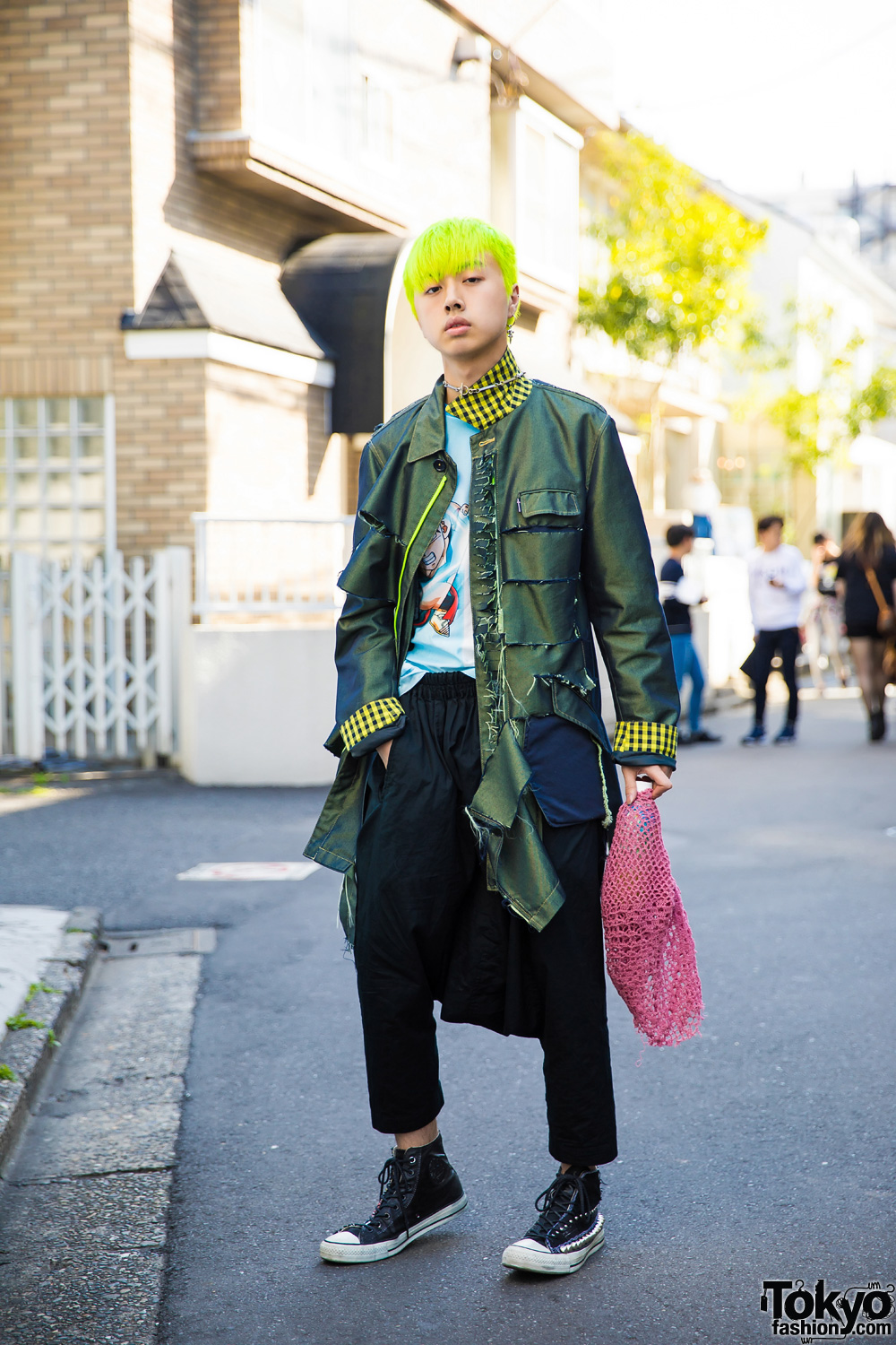 Neon-Haired Harajuku Guy In Edgy Street Style W/ PPFM