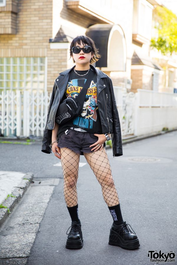 Harajuku Girl in Guns N' Roses Tee, Denim Shorts, Fishnets & Demonia Platforms