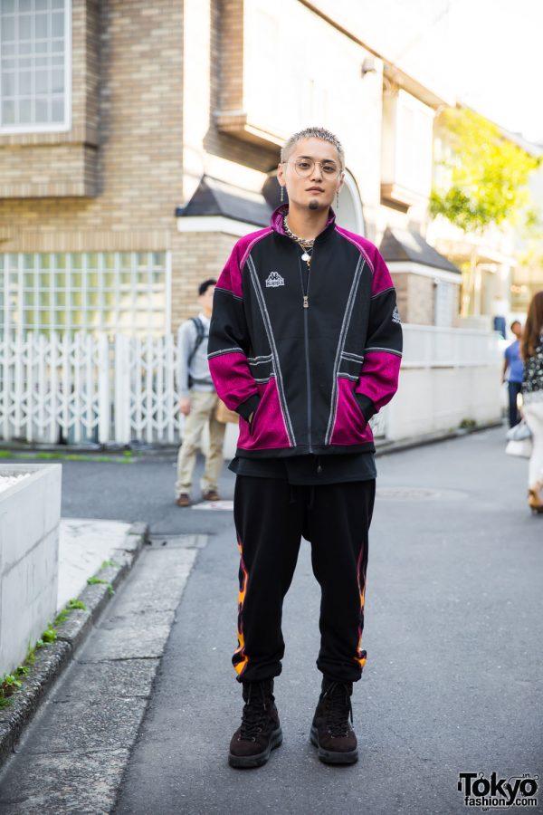 Harajuku Male Model in Sporty Vintage Streetwear w/ Kappa, Yeezy Season 3 & Chrome Hearts