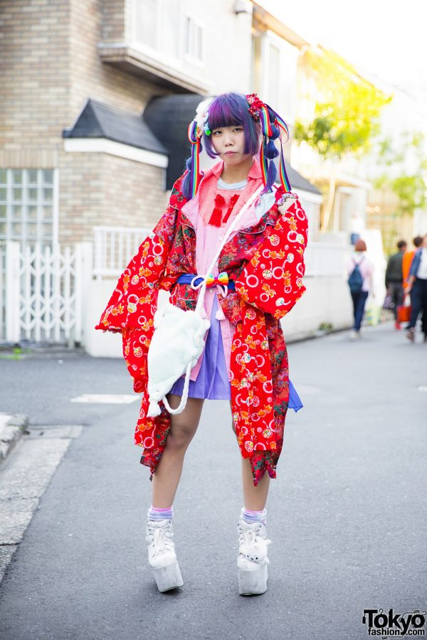 Harajuku Girl in Kawaii Remake Kimono w/ Purple Twin Tails, Rainbows, Cute Accessories & Platforms