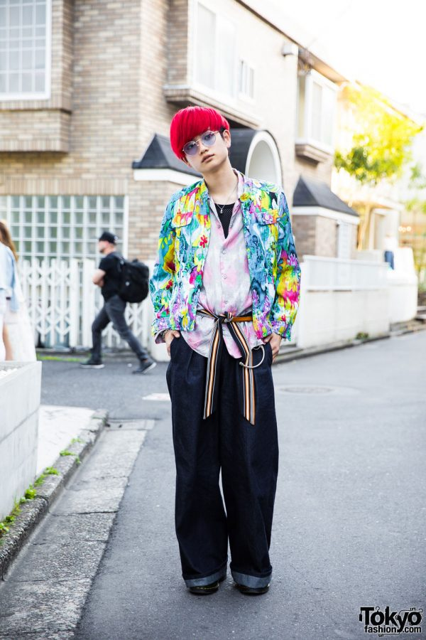 Red-Haired Harajuku Guy in Mixed Prints Fashion w/ Hare, Gen Izawa, Dr. Martens, Diesel & Vivienne Westwood
