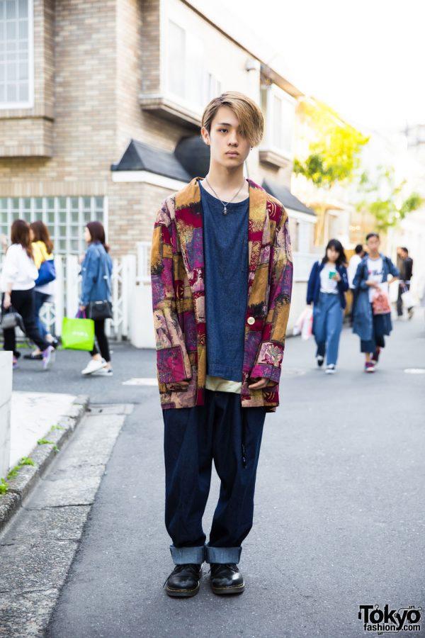 Blonde-Haired Harajuku Guy in Denim on Denim Fashion w/ Yotsuba, Dr. Martens, Vivienne Westwood & Tiffany