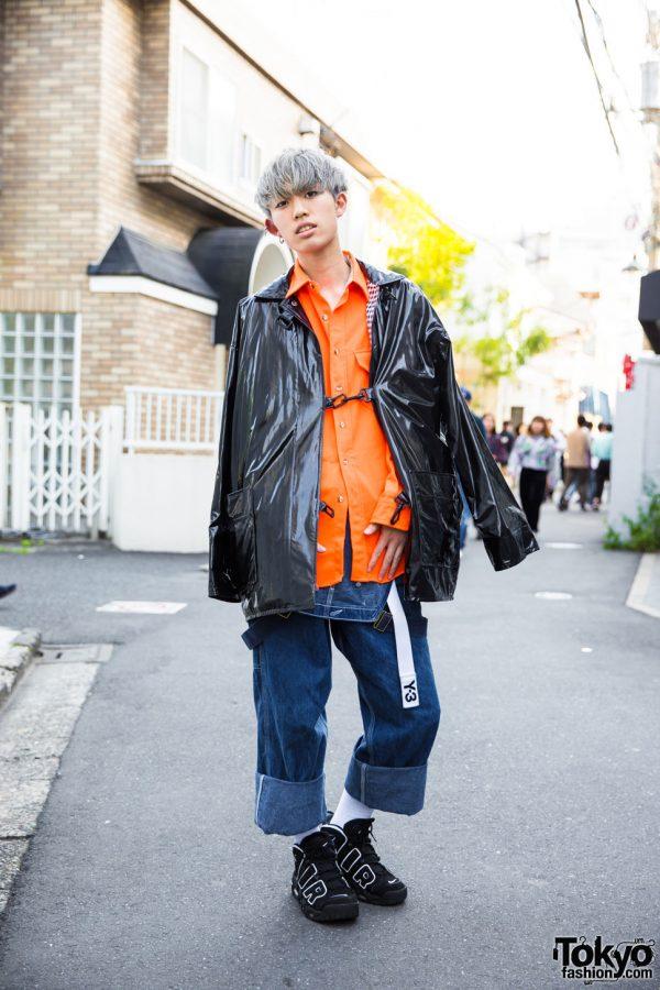 Harajuku Guy in Denim Jumper Street Style w/ Carhartt, Nike Air, Y-3 & Chrome Hearts