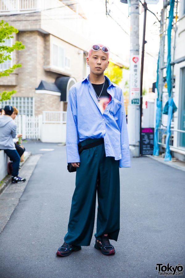 Pink-Haired Harajuku Guy in Vintage Street Fashion, Raf Simons & Faith Tokyo