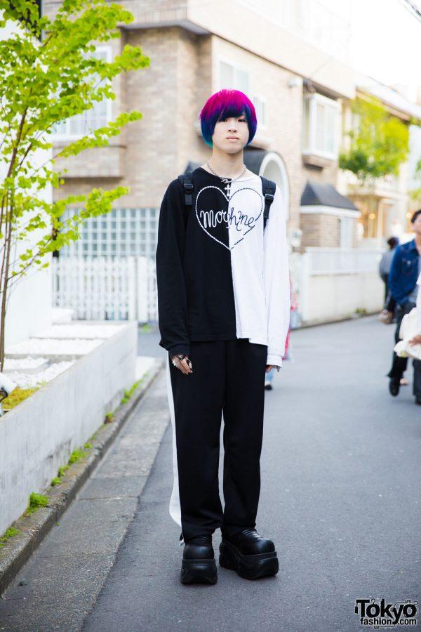 Harajuku Guy w/ Pink & Blue Hair in Fashion by Morph8ne, XU, Demonia & Alice Black