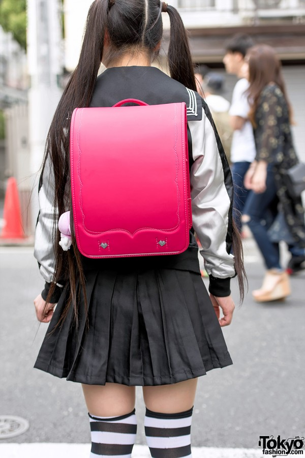 harajuku girl in twintails sailor top pleated skirt