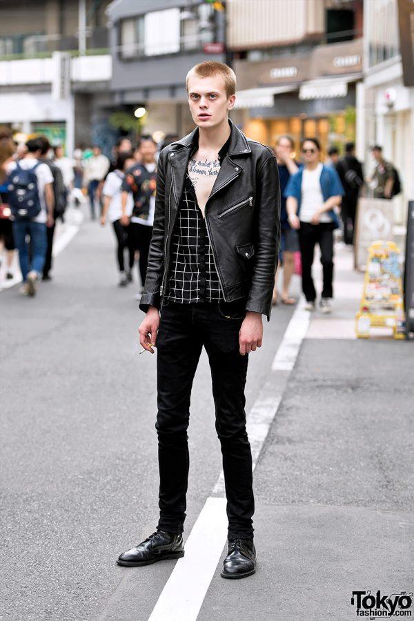 Carolina Sarria Leather Jacket, Skinny Jeans & Dr. Martens on Cat Street in Harajuku