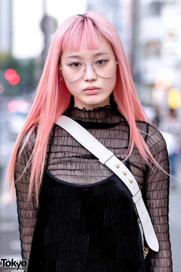 Fernanda Ly In Harajuku W Long Pink Hair Vintage Dress