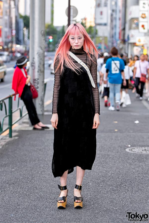 Fernanda Ly in Harajuku w/ Long Pink Hair, Vintage Dress, Bubbles & Vivienne Westwood