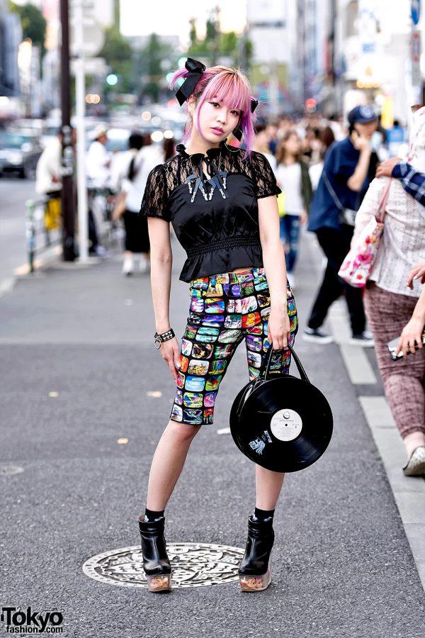 Harajuku Girl w/ Pink Hair in Black Lace, Doll Heads Platforms & Vinyl Record Bag