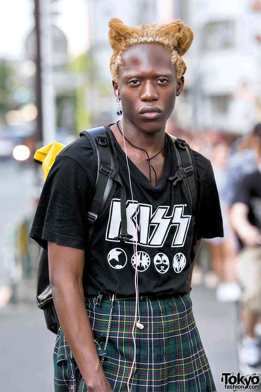 Male Fashion Model In Harajuku Wearing Vintage Jean Paul