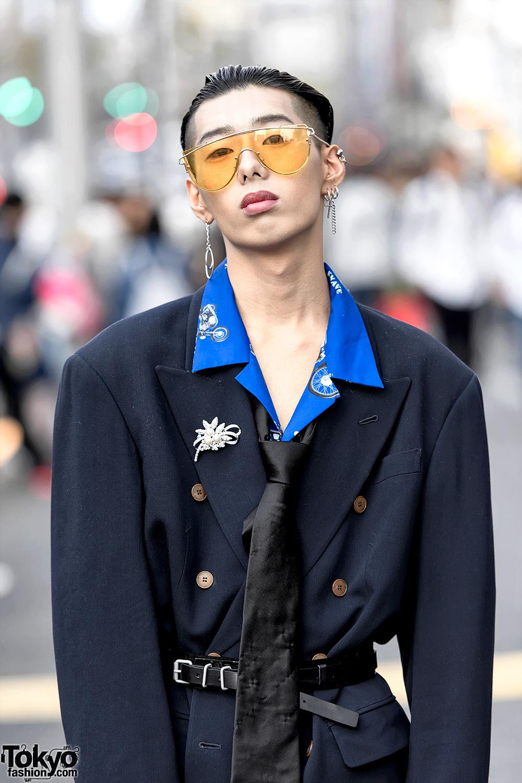 Harajuku Guy in Jean Paul Gaultier Padded Shoulder Blazer, Valentino & Balenciaga