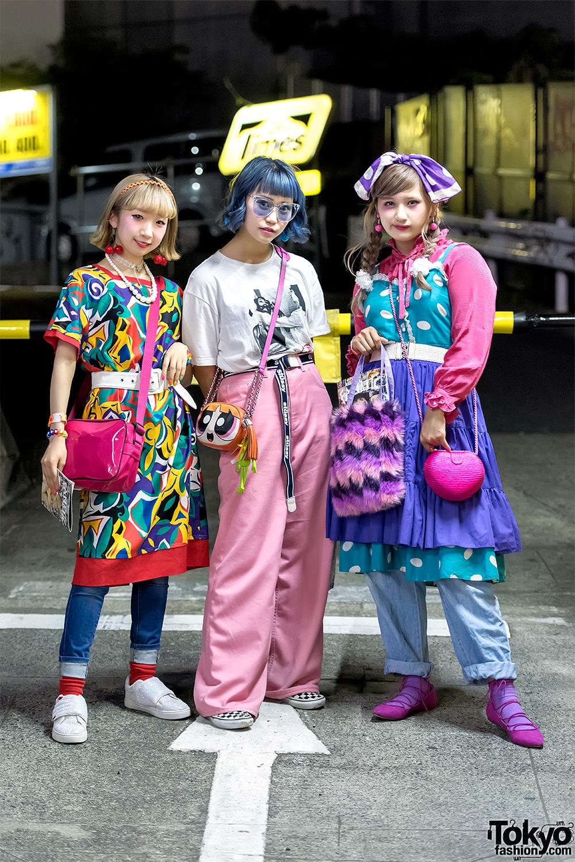 Colorful Vintage Japanese Street Styles w/ PowerPuff Girls, Kinji Harajuku & Little Sunny Bite