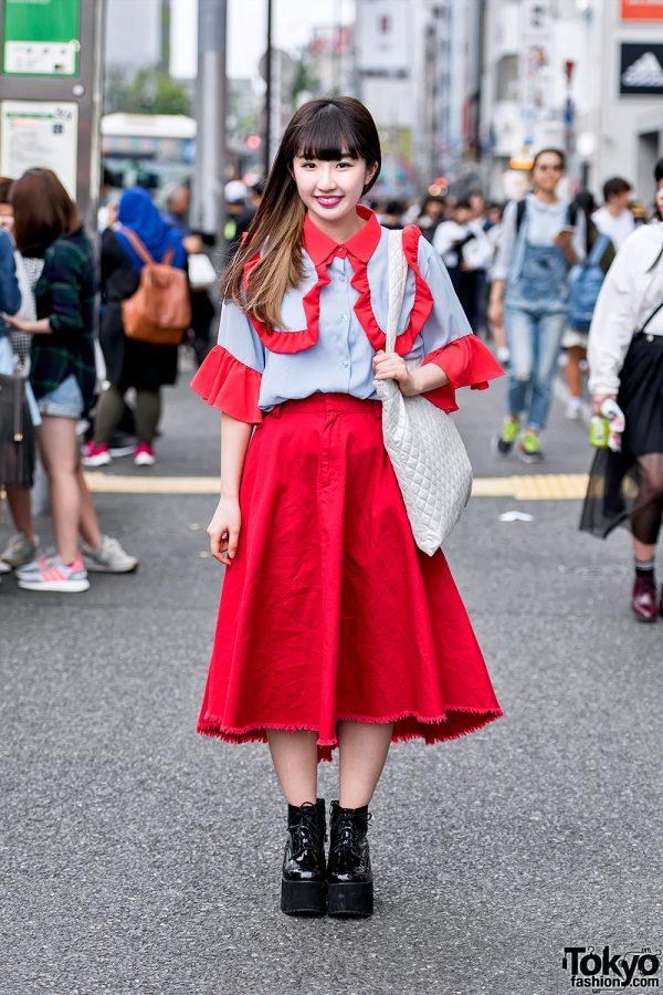 Harajuku Girl in Red Frilly RASPBERRYPIE Top, Vannie Tokyo & Bubbles Harajuku