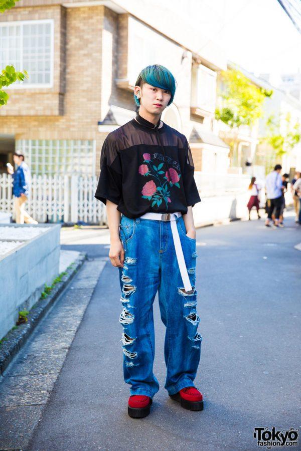Aqua-Haired Harajuku Guy in Rosvoa Street Wear w/ Demonia