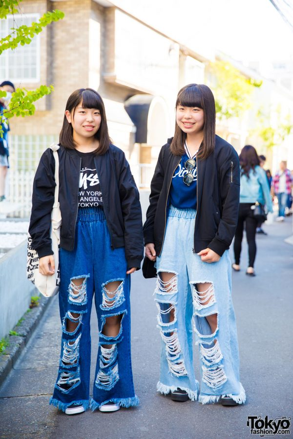 Japanese Twins in Harajuku Wearing Oversized Ripped Denims Street Wear