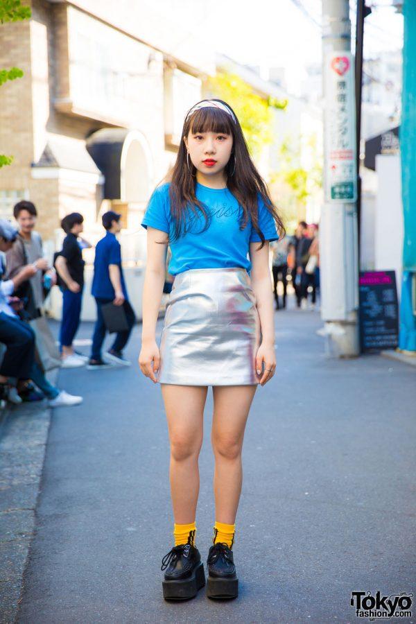 Harajuku Girl in Metallic Mini Skirt, Text Tee, Platform Creepers & Hoop Earrings