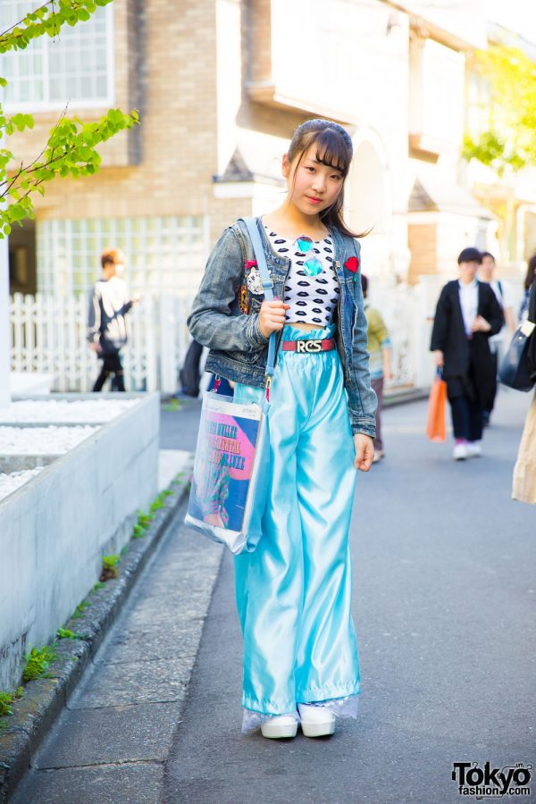 Harajuku Girl in Belted Pajama Pants, Denim Jacket, Platforms & Vinyl Record Purse