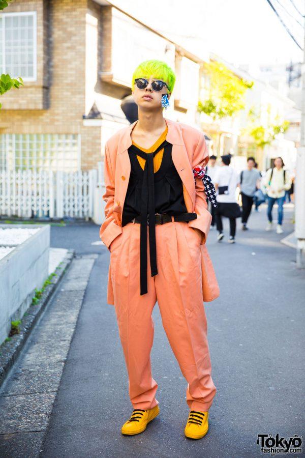 Neon-Haired Harajuku Guy in Junko Koshino Blazer & Pleated Pants Ensemble