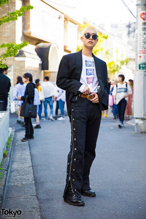 Blonde-Haired Harajuku Guy in Versace Blazer, MYOB Pants & Carven Boots