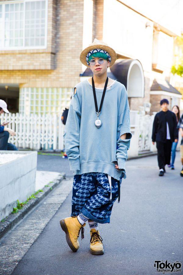 Aqua-Haired Harajuku Guy in Oversized Resale Clothing Fashion w/ Vivienne Westwood & Dr. Martens
