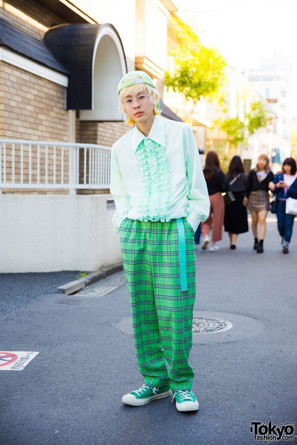 Harajuku Guy in Green Streetwear w/ Vintage Items, Burberry, Converse & Harley Davidson