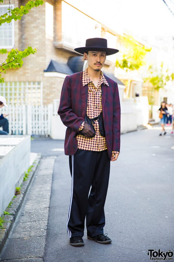 Harajuku Guy in Top Knot Wide Brim Hat, DoLuKE, SYU.Homme/Femme & John's by Johnny