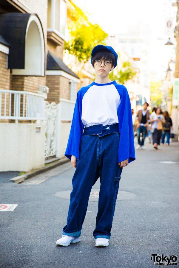 Blue & White Street Fashion in Harajuku w/ Ding & Nike