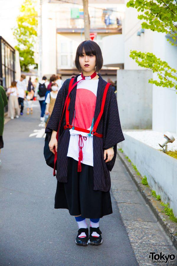Harajuku Girl in Funky Fruit Japanese Flag Shirt, Vintage Kimono Coat, Harness & Nike Air Rift